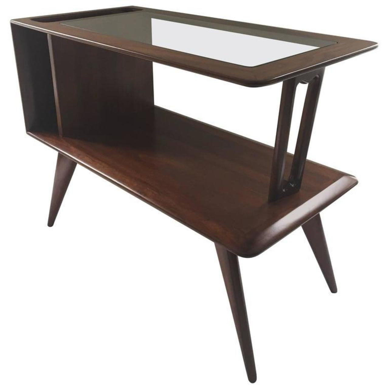 Signed FabriAss End Table Or Magazine Holder TwoTier Glass Walnut - Two tier glass side table