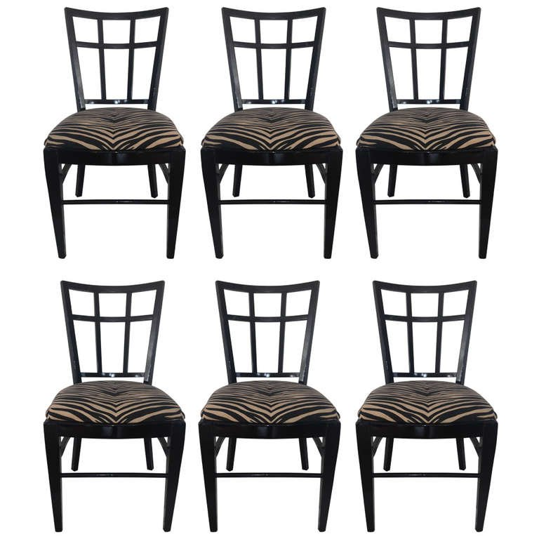 Carlyle Dining Room Set: Cafe Carlyle Set Of Six Black Lacquer Dining Chairs